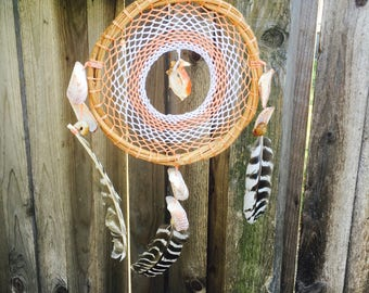 Handmade Crochet Mayan Dream Catcher Coral + White with Spiral Shell and Feathers ||| Mexican Folk Art ||| Home Decor