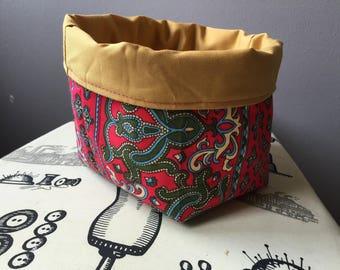 Reversible fabric basket.