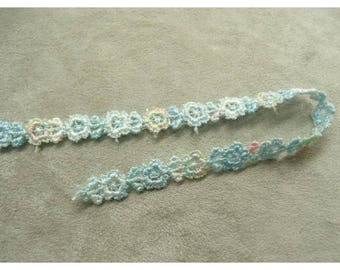 Ribbon embroidered flowers - 1 cm - Blue