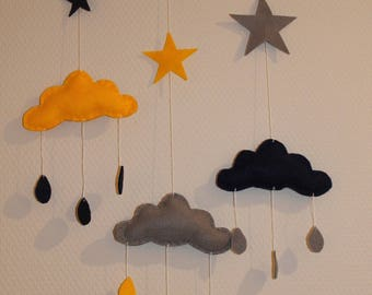 Mobile clouds and stars yellow, gray and Navy Blue