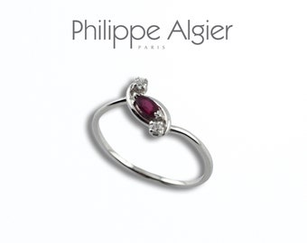 White Gold 18 k Ruby diamond ring.