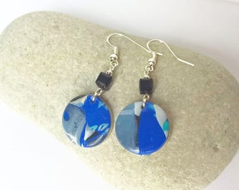 Blue and silver polymer clay earrings