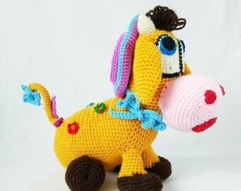 Crochet Toy Pattern ,  flower cow,amigurumi