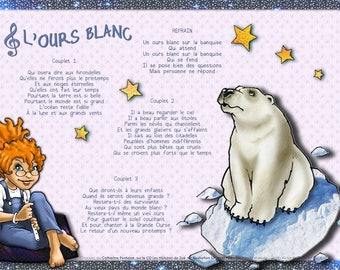 The desk pads with the White bear song for children.