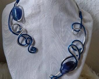 Blue necklace royal aluminum wire bracelet