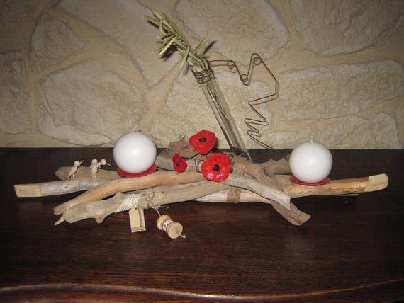 centre de table en bois flotté avec bougies soliflore
