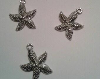 set of 3 charms silver metal starfish