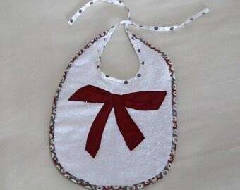 Terry cloth baby bib white