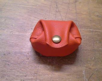 Orange genuine leather wallet