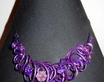 "Necklace ""earrings to earrings"" violets"
