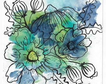 Blue Wash Floral