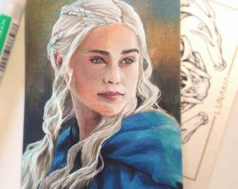 ORIGINAL ATC ACEO Daenerys Targaryen Game of Thrones