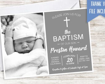 Boys Baptism Invite Gray Digital Invitation 7x5 Photo Option Kids Christening Grey Baptize