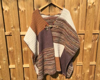 Poncho woman wool and dots patchwork