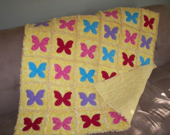 butterfly baby rag quilt flannel