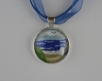 Hand painted Beach Scene Glass Cabochon in silver plated pendant