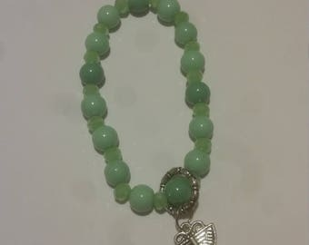 Green and Teal Butterfly Charm Bracelet