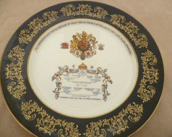 Charles and Diana Marriage 1981 Cobalt Blue and Gilded Aynsley Cabinet Plate
