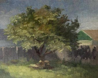Backyard Tree in Summer, Plein Air