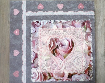 """Shabby square table """"Heart applique"""""""