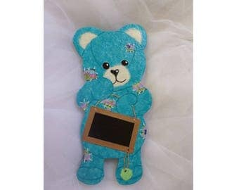"""Teddy bear blue Caribbean """"name"""" personalized door plate"""