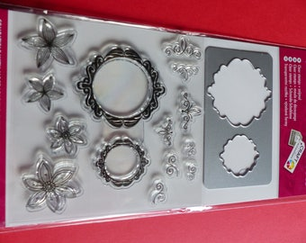 2 die cut 14 clear stamps frame and flower
