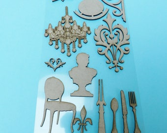 12 wooden house chandelier covered Chair fork knife spoon bust chipboard embellishment