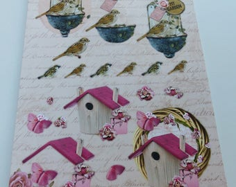 Board sheet A4 images precut to assemble for a 3D effect on the theme of nature romantic bird nesting box rose flower