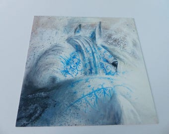 square card white horse with blue tattoo design