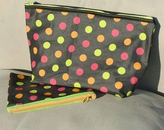 black coated cotton pouch with polka dots