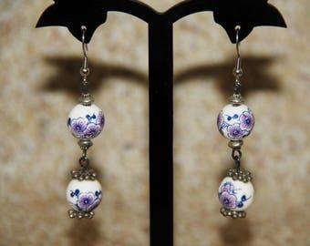 Purple and blue flower porcelain bead earrings