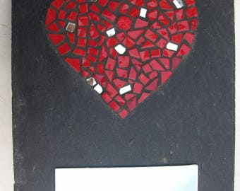 Red heart and mirror on Slate