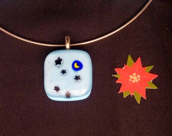 """Necklace """"Starry night"""" fused glass"""