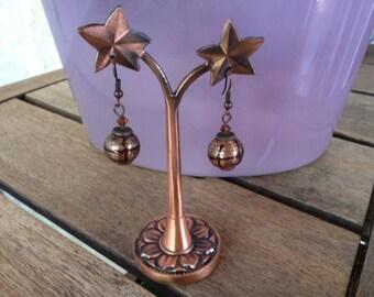 Copper ball earrings