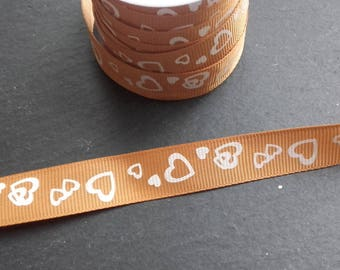 Brown Ribbon heart white grosgrain Ribbon 15mm