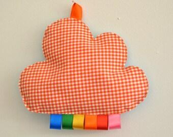 doudou étiquettes nuage vichy orange rubans arc-en-ciel