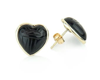 14K Yellow Gold Stud Scarab Earrings With 12 MM Heart Shaped Black Onyx Gemstones