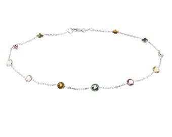 14k White Gold Handmade Station Anklet With Tourmaline Gemstones By the Yard 9 - 11 Inches