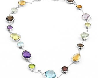 14K White Gold Handmade Station Necklace With Large Gemstones By The Yard 36 Inches