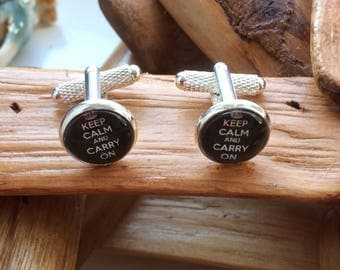 Black Keep Calm And Carry On Silver Plated Cufflinks Handmade