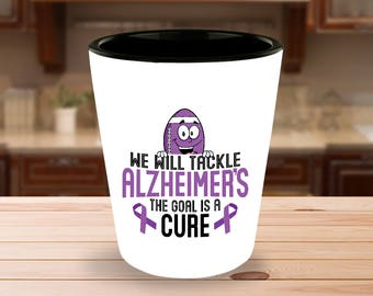 Alzheimers Disease Awareness Shot Glass - Tackle Cure - Football - 1.5 oz Ceramic Shotglass