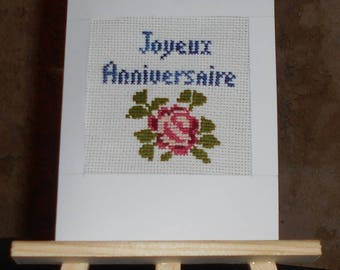 Embroidered on canvas - happy birthday handmade card