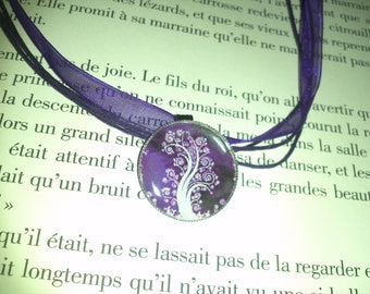 Organza necklace and her purple and white tree of life Locket