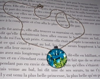 Necklace - silver-colored - cabochon - flowers