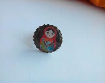 fancy ring - bronze - matryoshka - Russian