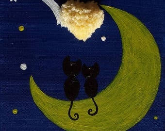Two black cats in love sitting on Moon watching a shooting star