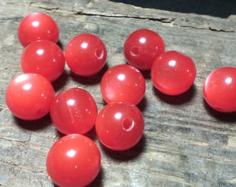 ☆ Set of 20 mm/round/red bright ☆ 8/cat eye beads