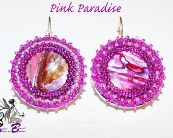 "Earrings abalone and seed bead ""Pink Paradise"""
