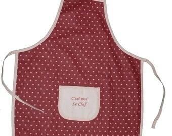 Red polka dot child apron