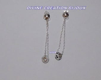 """""""Clip"""" with chain and Pearl charm earrings"""